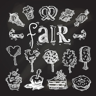 Sweets sketch icon set chalkboard