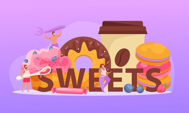 Sweets text with doughnuts and coffee