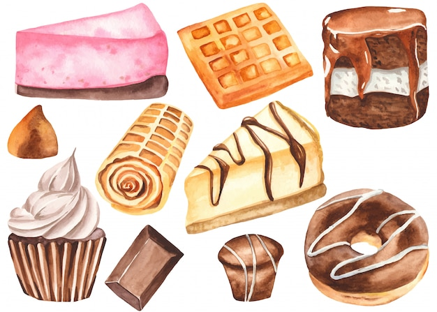 Sweets in watercolor style