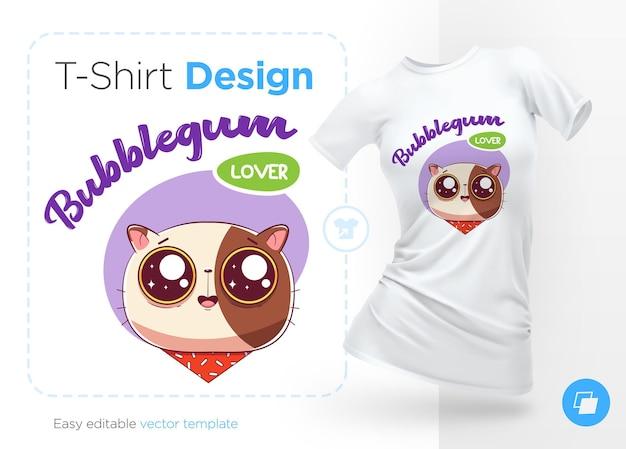 Sweettooth cat print ontshirtsスウェットシャツケース携帯電話のお土産用