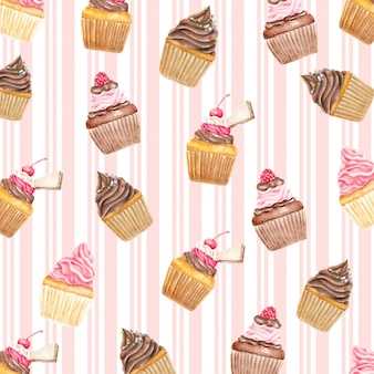Sweety cupcakes cherry and waffle pattern watercolor