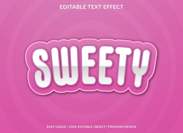 Sweety editable text effect template premium vector