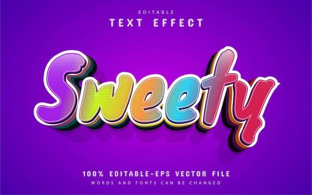 Sweety text, cartoon style text effect Premium Vector