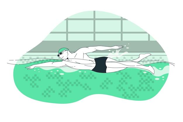 Иллюстрация концепции плавания
