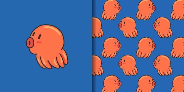 Swim octopus and seamless pattern