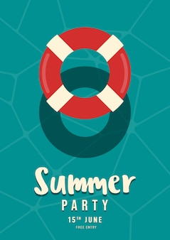 Swim ring floating on swimming pool summer party poster