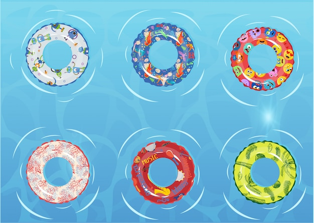 Swim rings set. inable rubber toy.