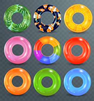 Swim rings set on transparent background. inflatable rubber toy. lifebuoy colorful collection. summer. realistic summertime illustration. summer vacation or trip safety.