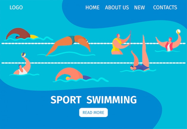 Swim sport web banner with people professional swimmers in swimming pool, cartoon illustration.
