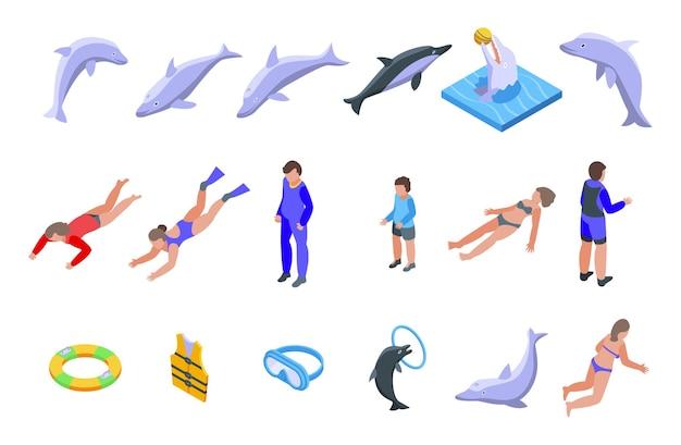 돌고래 아이콘으로 수영하세요. 흰색 배경에 고립 된 웹 디자인을 위한 돌고래 벡터 아이콘으로 수영의 아이소메트릭 세트