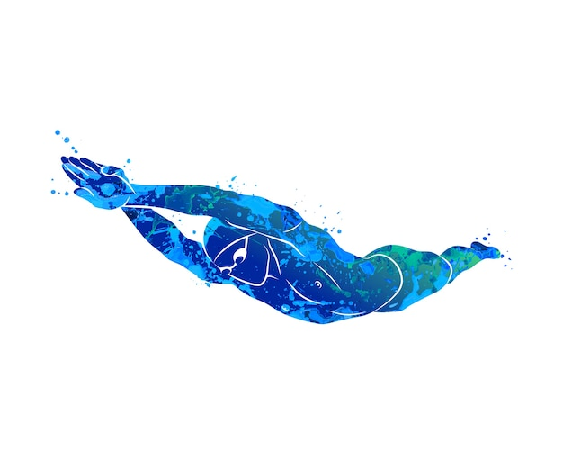 A swimmer dives into the water from splash of watercolors. illustration of paints.
