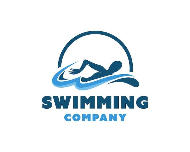 Шаблон логотипа пловец плавательный векторный дизайн плавать иллюстрация