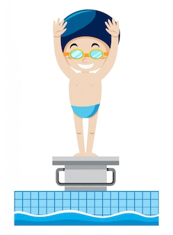 A swimmer on springboard