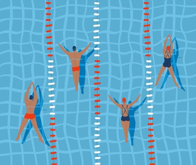 スイマーはプールで泳いでいます上面図フラットイラスト
