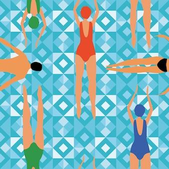 Swimmers blue geometric seamless pattern