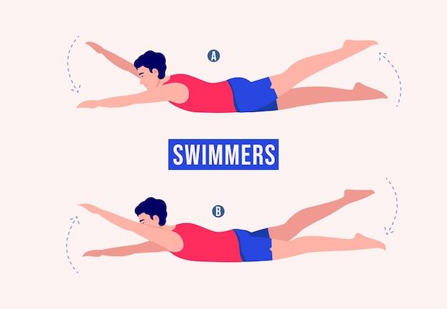 Пловцы упражнения женщина тренировки фитнес аэробика и упражнения