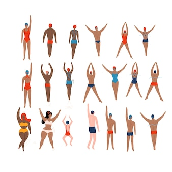 Swimmers set various characters swimming people in action poses sport man swim action