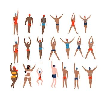 Пловцы устанавливают различных персонажей, плавающих людей в боевых позах, спорт мужчина плавать действие