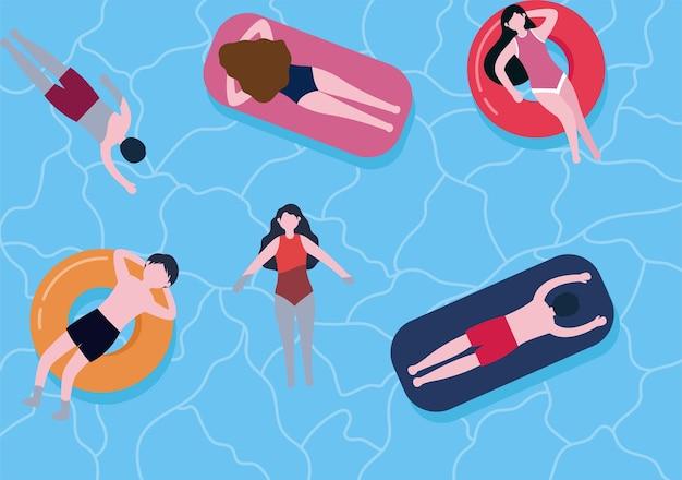 플랫 만화 스타일의 수영 배경 벡터 일러스트 레이 션. 사람들은 수영복을 입고 여름에 수영하고 수상 활동을 수행합니다.