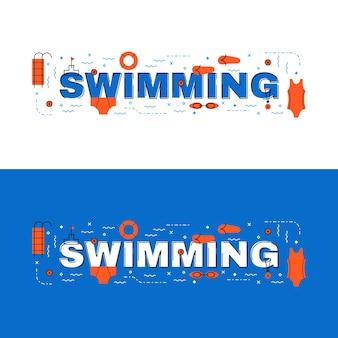 Плавательный баннер, плавный надпись на плоской линии с иконками