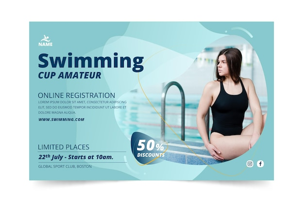 Swimming banner template design