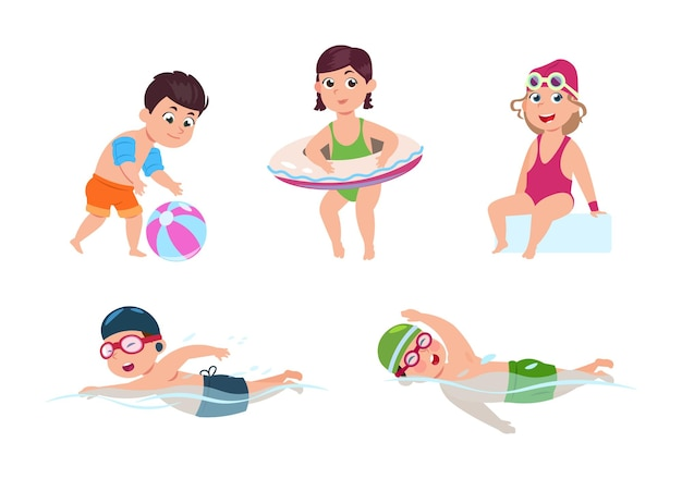 Swimming children. happy kids, little beach girl. sea or pool party. isolated cartoon friends in swimsuits