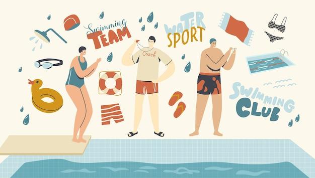 수영장에서 수영 캐릭터를 가르치는 수영 클래스 코치. 수영장 옆에 서 있는 여자 수영 모자와 안경은 점프할 준비를 합니다. 훈련, 수영 배우기, 스포츠. 선형 사람들 벡터 일러스트 레이 션