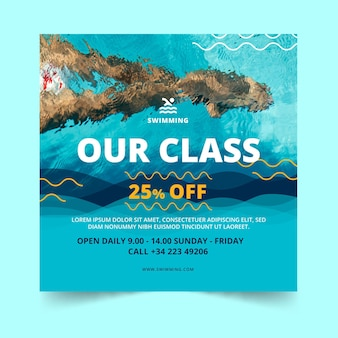 Swimming classes square flyer template