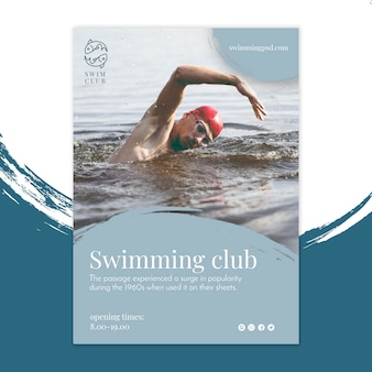 Swimming club flyer vertical