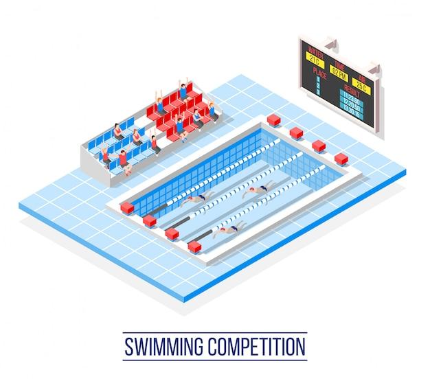 Соревнования по плаванию изометрические Бесплатные векторы