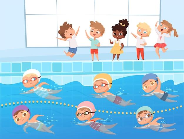 Соревнования по плаванию. дети водные виды спорта плавание гонки в бассейне мультяшный фон.