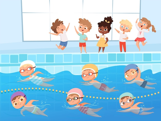 Swimming competition. kids water sport swimming race in pool  cartoon background.