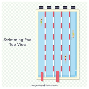 Swimming competition in a top view