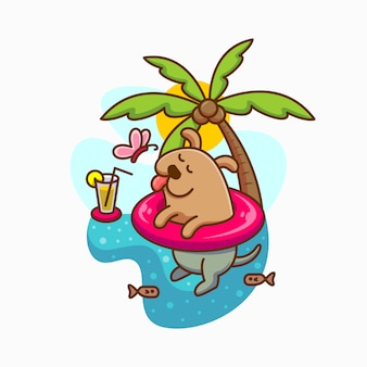 Swimming dog cute summer illustration