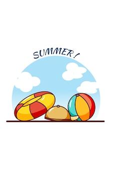 여름 휴가 만화 그림에서 수영 장비