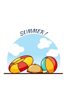 Swimming equipment in summer holiday cartoon illustration