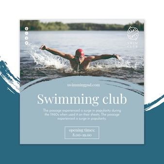 Swimming flyer square concept