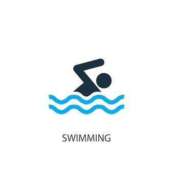 Значок плавания. иллюстрация элемента логотипа. дизайн символа плавания из 2-х цветной коллекции. простая концепция плавания. может использоваться в интернете и на мобильных устройствах.