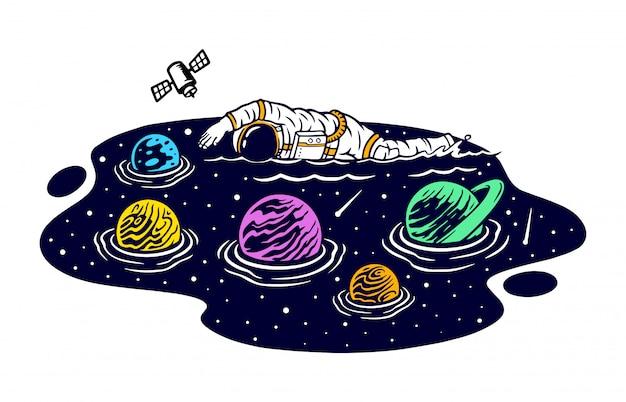 宇宙イラストで泳ぐ