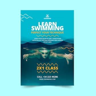 Swimming is life classes flyer template