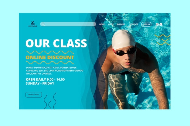 Swimming is life classes landing page template