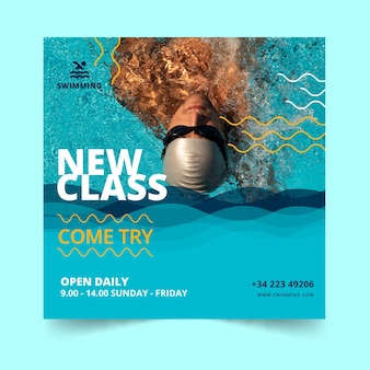 Swimming is life classes square flyer template