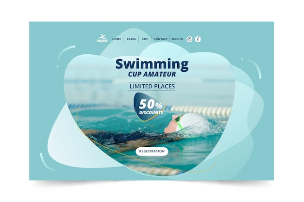 Swimming landing page template design