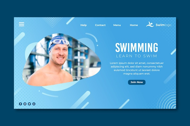 Swimming landing page with man photo