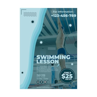 Swimming lesson poster template design