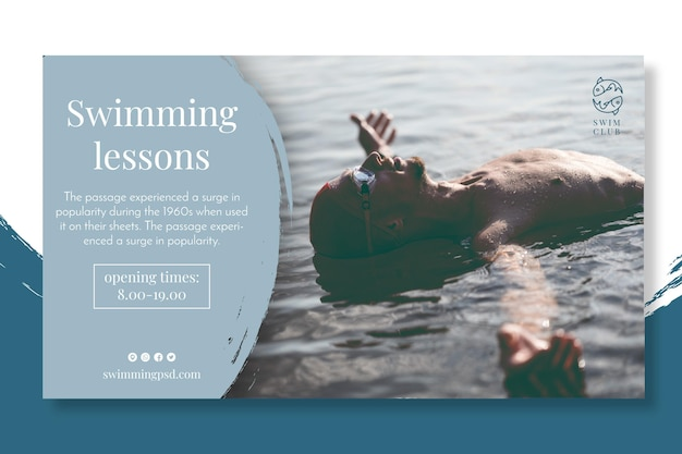 Swimming lessons banner concept