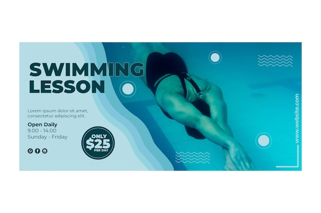 Swimming lessons banner design