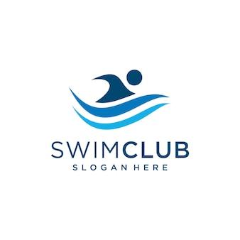 青で水泳の男のロゴのデザインテンプレートのインスピレーション。