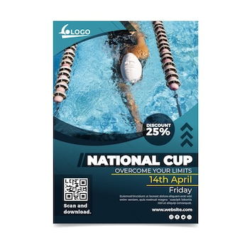 수영 국가 컵 포스터 템플릿