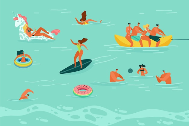 水泳の人々。水着で幸せな男性と女性はボール遊び、海や海で泳いだりサーフィンしたり、休暇で夏のビーチレジャー活動、フラットベクトルカラフルな漫画イラスト